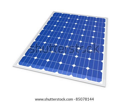 3d solar power energy isolated blue panel - stock photo