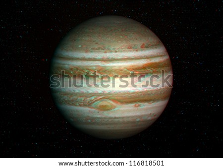 3D solar system series: Jupiter with stars in the background. View anaglyph with red/cyan glasses. Elements of this image furnished by NASA. - stock photo