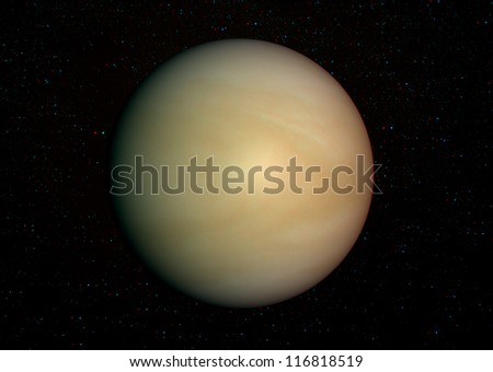 3D solar system series:  Venus with stars in the background. View anaglyph with red/cyan glasses. Elements of this image furnished by NASA. - stock photo