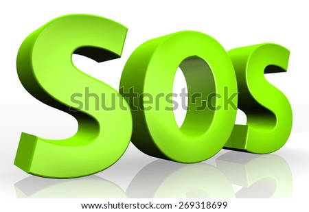 3d SOS text isolated over white background - stock photo