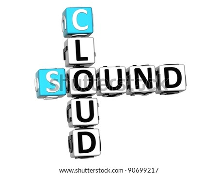 3D Sound Cloud Crossword on white background - stock photo