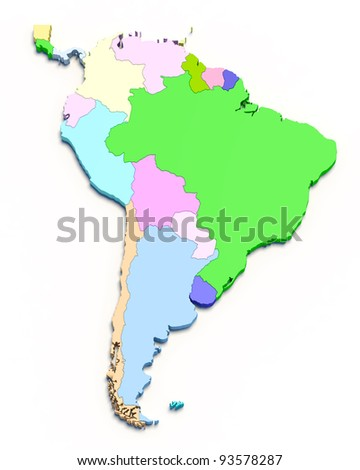 3D south america color map on white isolated - stock photo