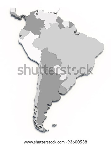 3D south america map on white isolated