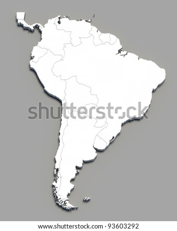 3D south america white map on grey isolated