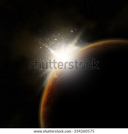 3D space background with sun rising behind fictional planet
