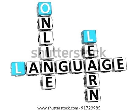 3D Spanish Language Crossword on white background - stock photo