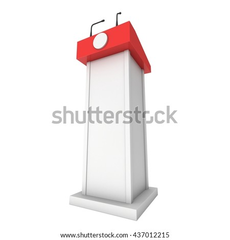 3d Speaker Podium. Red tribune rostrum stand with microphones. 3d render isolated on white background. Debate, press conference concept - stock photo