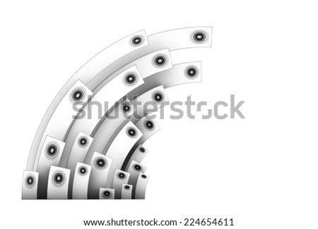 3d speaker sound system in silver over white - stock photo