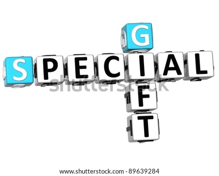 3D Special Gift Crossword on white background