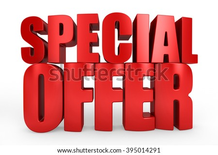 3D special offer word on white isolated background