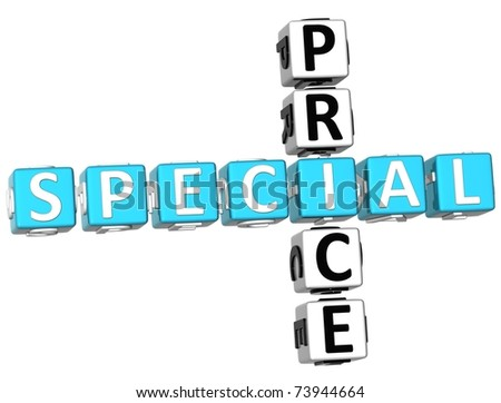 3D Special Price Crossword on white background - stock photo