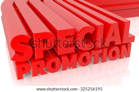 3D SPECIAL PROMOTION word on white background 3d rendering