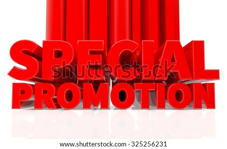 3D SPECIAL PROMOTION word on white background 3d rendering - stock photo