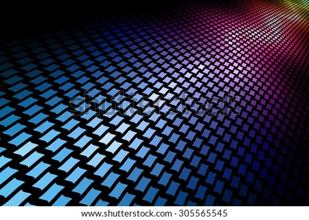3D spectrum mosaic horizontal background with black copy space. - stock photo