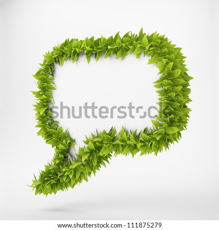 3D speech bubble surrounded by leafs - stock photo