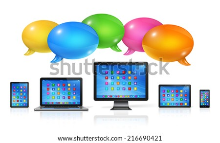 3D Speech bubbles and computers set. Communication and technology - stock photo