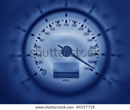 3D Speedometer blue. rendering ( high resolution ) - stock photo