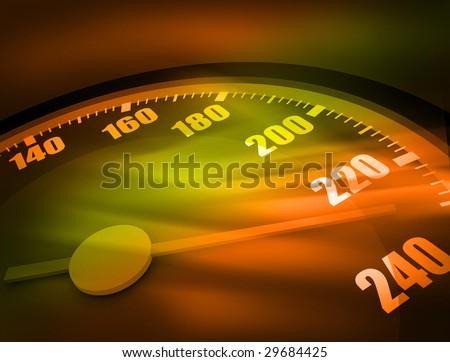 3D Speedometer. Hi res rendering. Realistic version. - stock photo