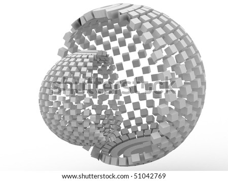 3d sphere from cubes - stock photo
