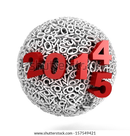 3d Sphere made of numbers on white background - stock photo