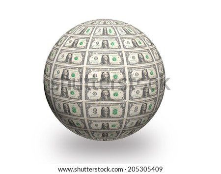 3D  Sphere made of one  dollar bills on white background