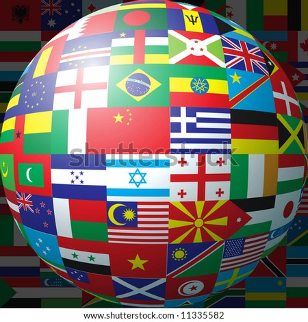 3D sphere made up of national flags
