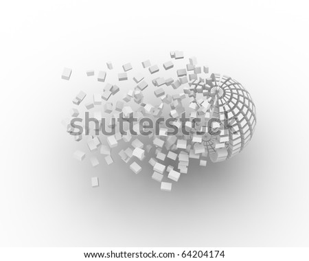 3d sphere reconstruction from parts - stock photo