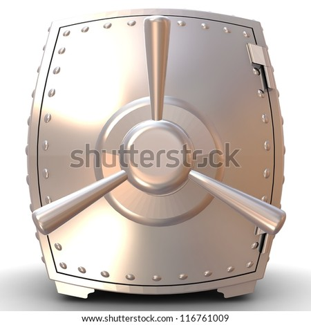 3D sphere steel bank safe on white background. - stock photo