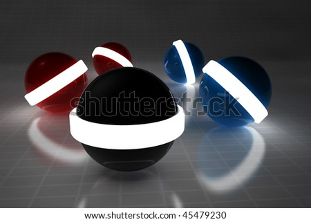 3d sphere with light on dark room