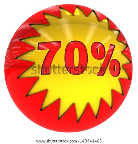 3d sphere with star and seventy percent with clipping path and isolated on white