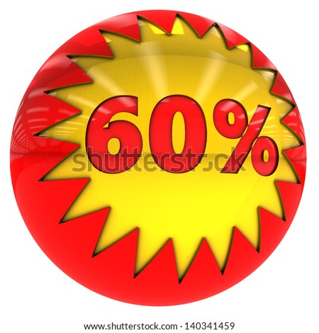 3d sphere with star and sixty percent with clipping path and isolated on white