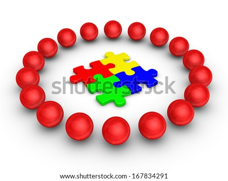 3d spheres around four connected puzzle pieces - stock photo