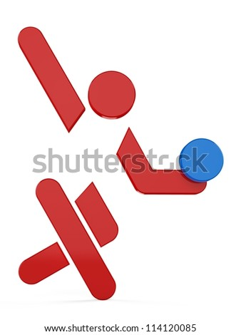 3D sport icon set... 3D volleyball symbol... - stock photo