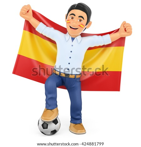 3d sport people illustration. Football fan with the flag of Spain. Isolated white background. - stock photo
