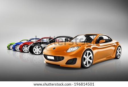 3D Sports Car Collection - stock photo