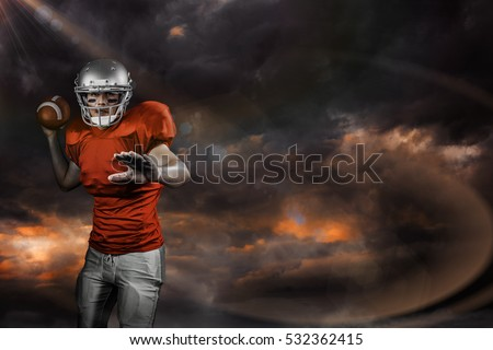 3D Sportsman throwing American football while playing against gloomy sky