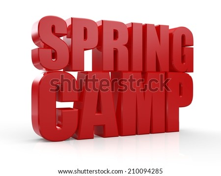 3D Spring Camp text on white background