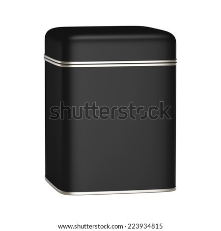 3D Square Black Tin Can design product package, isolated - stock photo