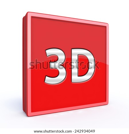 3d square icon on white background