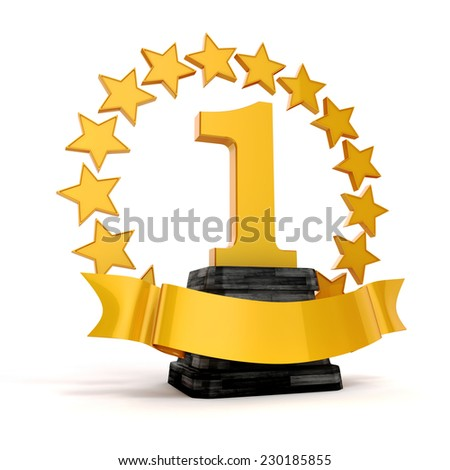 3d 1st place trophy and golden stars - stock photo