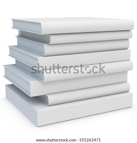 3d stack of blank books on white background - stock photo