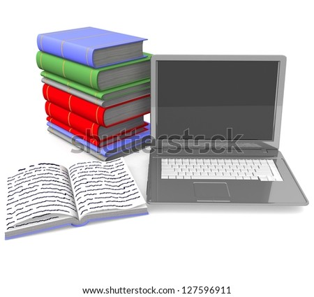 3d Stack of books connected to laptop