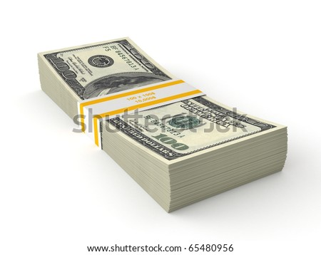 3d stack of dollars - stock photo
