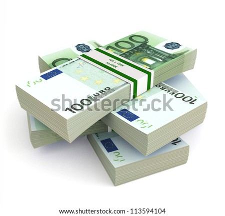 3d Stack of Euro isolated on white background