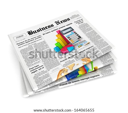 3d stack of newspapers, isolated white background, 3d image - stock photo