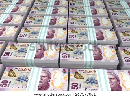 3D stack Piles of Mexico money - stock photo