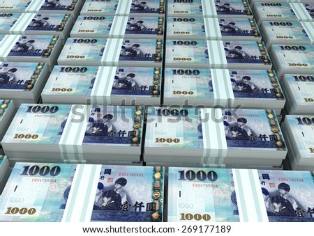 3D stack Piles of Taiwan money - stock photo