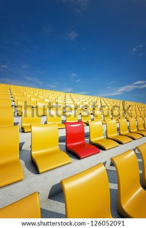 3d stadium chairs concept - stock photo