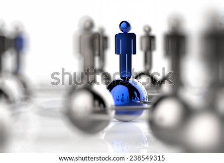 3d stainless human social network and leadership as concept - stock photo