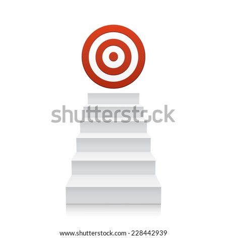 3d stairs with red target icon isolated on white background. Steps - stock photo